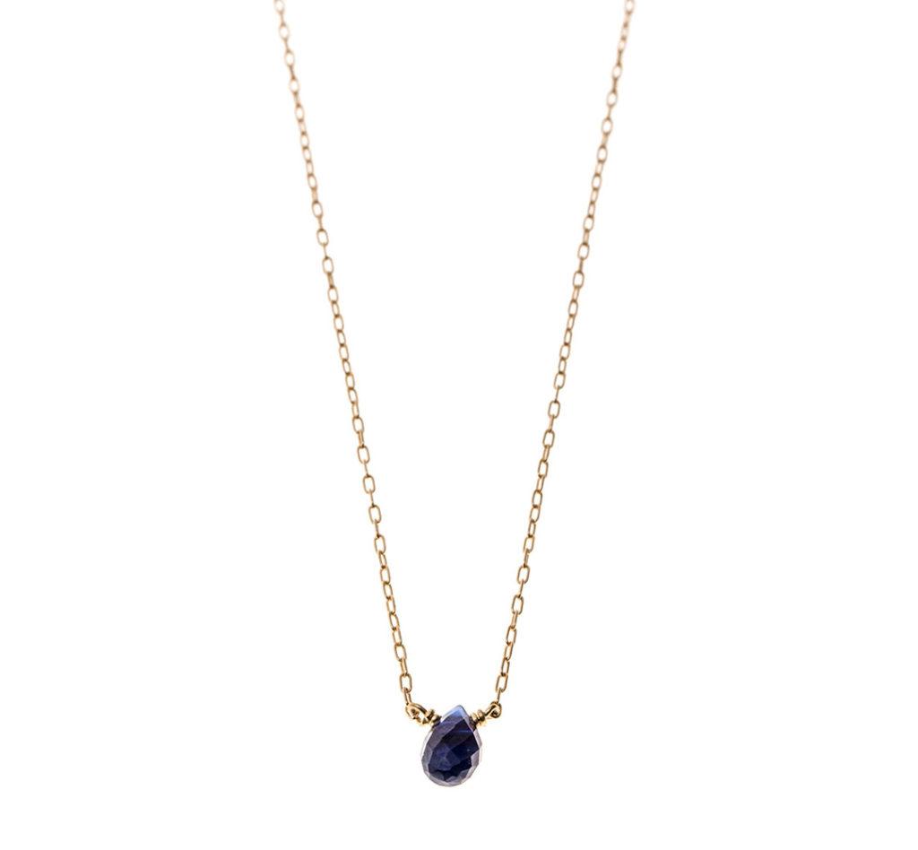 一粒天然石ネックレス  ブルーサファイア