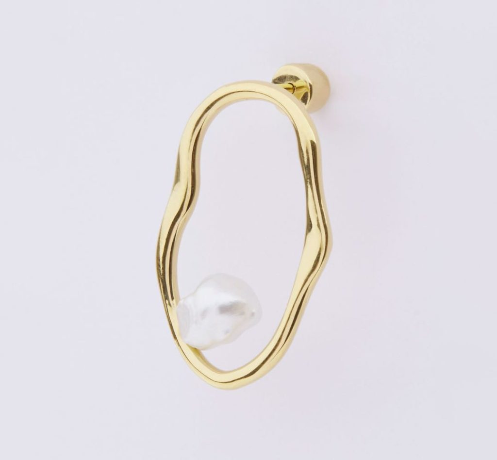 Nugget Pierced Earring-Yello Gold